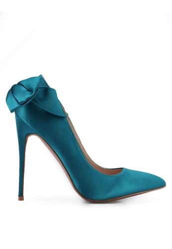 Velvet blue Heels with Bow Detail C85C8SHB229937GS_1