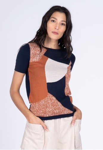 Apple & Eve navy Abstract Tile Printed Knit Top 45BBFAA555FB67GS_1