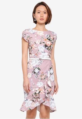 Paper Dolls pink Pretty Rose Flute Frill Dress With Waist Belt 29FFEAAEA4CF95GS_1
