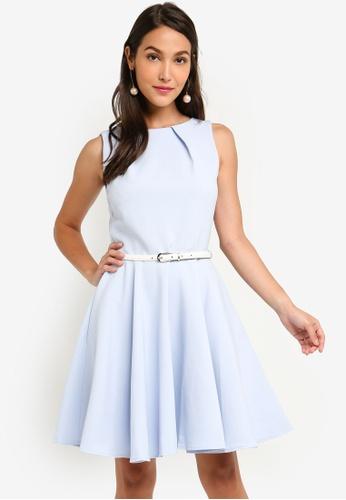 CLOSET blue Skater Belted Dress 4A8B3AA601463EGS_1