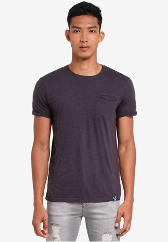 Indicode Jeans 灰色 短袖休閒口袋T恤 C38F3AA56E8DD5GS_1