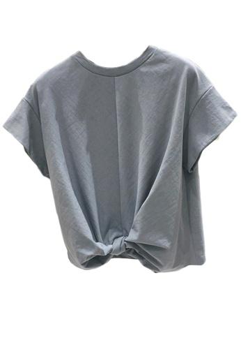 Sunnydaysweety grey Korean Style Tied-Hem T-shirt Top A21032015GY 7062CAA814750AGS_1