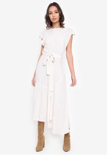 TOPSHOP white Cutabout Stripe Midi Dress TO412AA0SZ6GMY_1