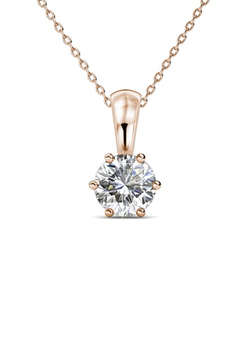 Her Jewellery white and gold Birth Stone Pendant (April, Rose Gold) - Made with premium grade crystals from Austria 52CE3AC1A8B023GS_1