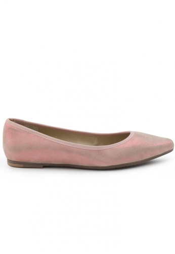 Shu Talk pink Suede Baby Pink Pointed Toe Flat Shoes SH397SH0FPKPSG_1