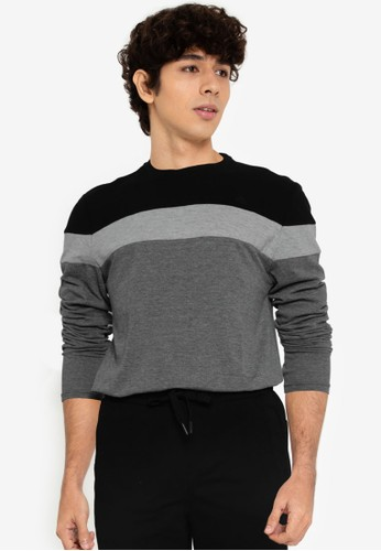 Springfield black Long Sleeves Piqué Block T-Shirt A484CAA5064291GS_1