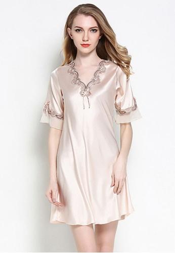 SMROCCO beige Silk Plus Size Nightie Dress 49746AADA31D27GS_1