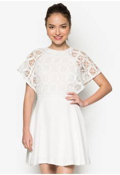 Lace Piecing Fit And Flare Dress