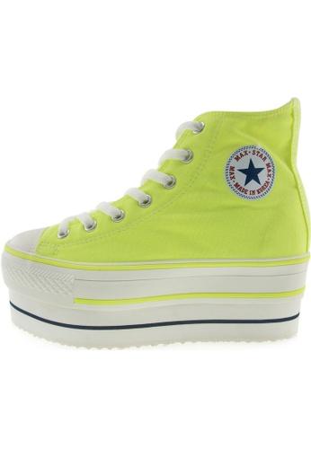 Maxstar 綠色 新款韩国鞋CN9-8H時尚帆布布混合女綠色 US Women Size MA345SH69HFYTW_1
