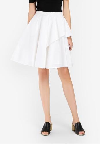 Hopeshow white Flared Mini Skirt A884BAAB4BA09FGS_1