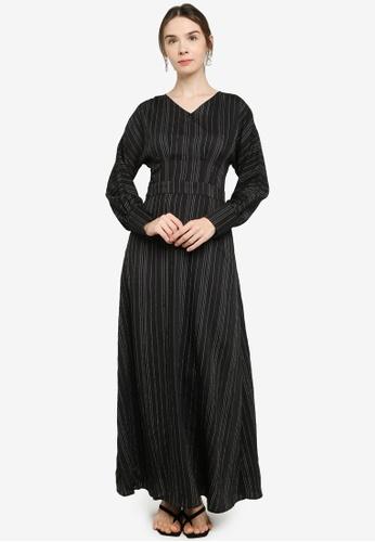 ZALIA BASICS 黑色 A-Line Striped Dress 08421AAE806BA6GS_1