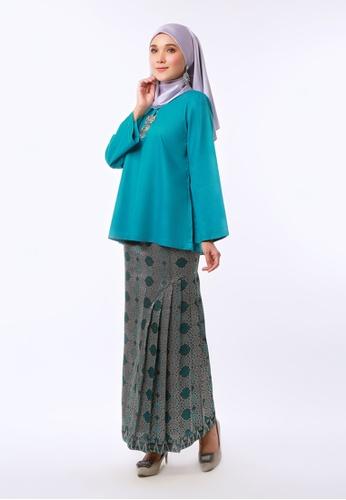 Buy Inhanna Bunga Kurung Kedah Songket Turquoise Online Zalora Malaysia