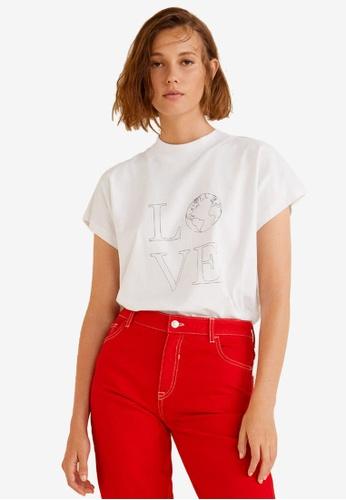 Mango white Organic Cotton Message T-Shirt 49234AA7C70B04GS_1