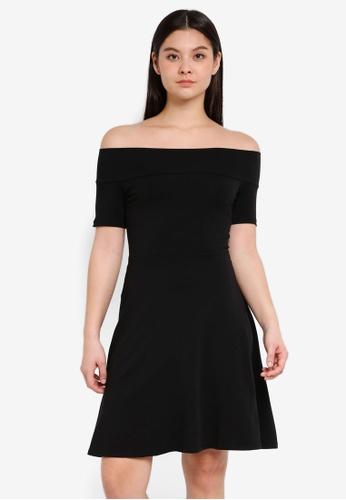 Dorothy Perkins 黑色 Black Bardot Skater Dress E8D74AA942BA33GS_1