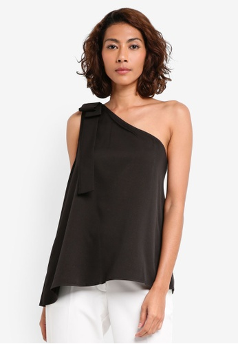 Preen & Proper black One Shoulder Top With Bow PR614AA0RRXKMY_1