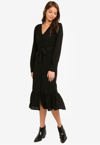 Pieces black Carly Long Sleeve Dress D0C7DAAB7FE628GS_1
