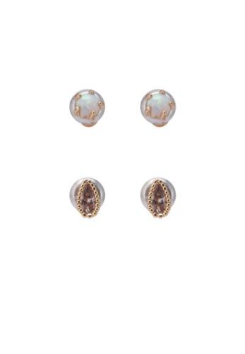 Orelia London multi Opal & Crystal 2 Pack Earrings OR747AC0SC46MY_1