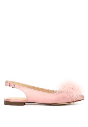 London Rag pink London Rag Women's Blush  Furry Pom Pom Slingback Stylish Flats SH1626 09132SH8AC7F53GS_1