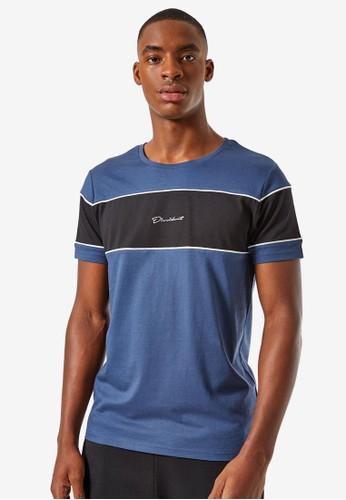 Burton Menswear London blue Blue Colour Block T-Shirt 9BE5FAA76CF901GS_1