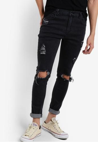 Flesh IMP 黑色 Pedro Knee Torn Denim Jeans FL064AA98VWNMY_1