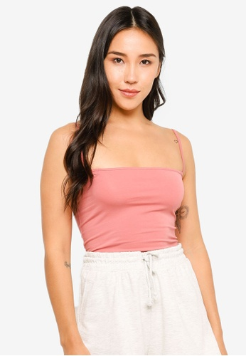 H&M pink Cropped Jersey Strappy Top AC09BAAE1B97FBGS_1