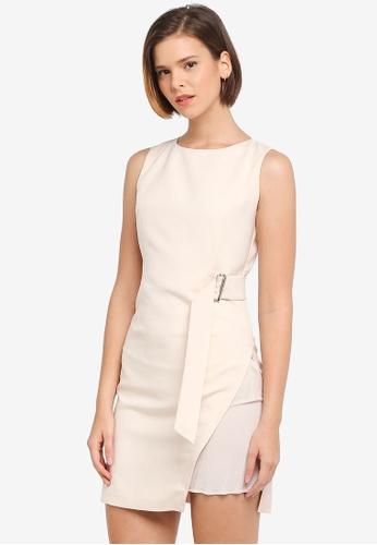 ZALORA beige Dress With Pleats Panel 062ADAA7F364C8GS_1