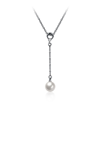 Silver Plated Chain Necklace With White 1cm Pearl Pendant