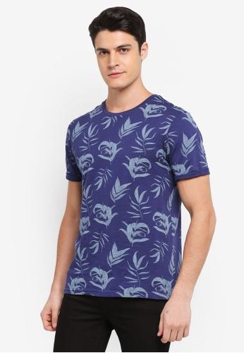 Burton Menswear London navy Navy Slub Floral All-Over Print T-Shirt CFB09AA852F685GS_1