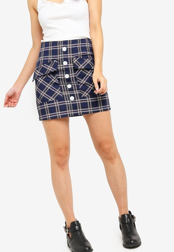 Something Borrowed navy Button Down Patch Pocket Mini Skirt 38B66AA78EA6D2GS_1