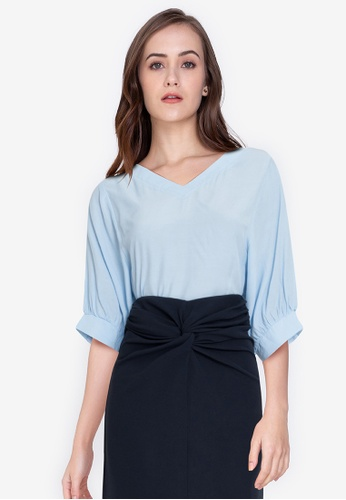ZALORA WORK blue Cocoon Sleeves Blouse A5B70AA69786FBGS_1