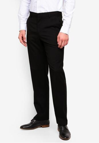 Burton Menswear London 黑色 Black Regular Fit Stretch Trousers 3AA65AAEB9F314GS_1