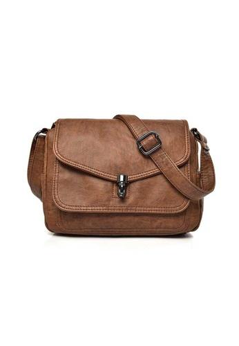 Lara brown Women's PU Leather Magnetic Buckle Cross-body Bag - Brown 97477AC19C703EGS_1