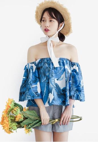 Shopsfashion blue Off Shoulder Blouse 79303AA6E32566GS_1