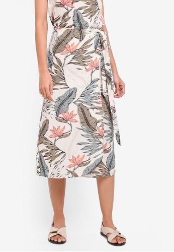 OVS black Tropical Wrap Skirt F5F98AABD36783GS_1