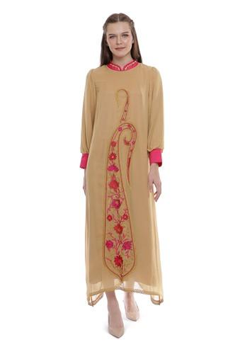 "Devain Kapoor beige ""Ambee"" Paisley Motif Dress 9BE2AAADEA1AF6GS_1"