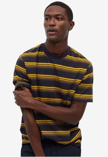Mango Man blue Striped Cotton T-Shirt C3B75AA28454F4GS_1