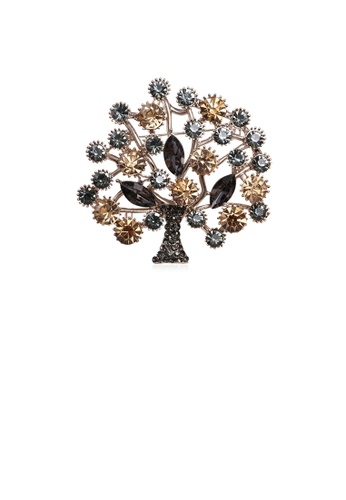 Glamorousky brown Fashion and Elegant Plated Gold Tree Of Life Brooch with Brown Cubic Zirconia BA5FBAC0B3807CGS_1
