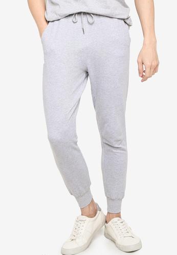 ZALORA BASICS grey Cotton Terry Jogger Pants C4F29AAF28C199GS_1
