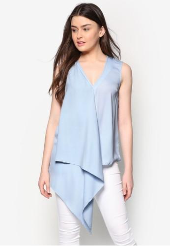 不對稱裹飾無袖上衣, 服飾zalora時尚購物網評價, 上衣