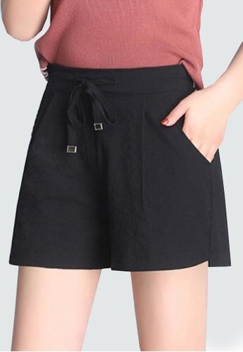 Twenty Eight Shoes black VANSA Ice Silk Cotton Linen Shorts Pant VCW-PYMSS 54FE1AA46FF6FFGS_1