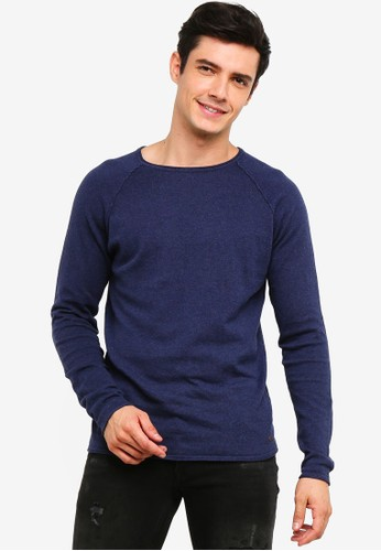 !Solid navy Stamos Mix Silk Raglan Knit Sweater 31899AAEF846E0GS_1