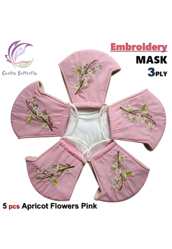 Cantik Butterfly pink Embroidery Mask 3Ply Reuseable Washable Face Mask Non Surgical Mask (Apricot Flowers Pink) Set of 5 55991ESE73DEBBGS_1