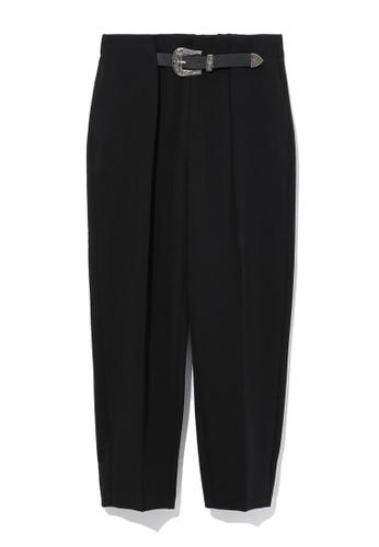 b+ab black Belted pants 3EB2EAA9DEA2D1GS_1
