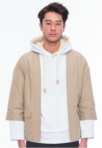 Alpha Style beige Sanjuro Kimono Jacket AL461AA0GMCKSG_1