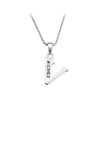 Glamorousky white 925 Sterling Silver Fashion Simple English Alphabet V Pendant with Cubic Zirconia and Necklace 21EF1AC3EEAF3DGS_1