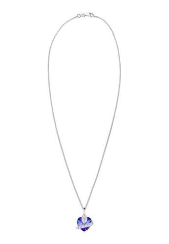 施華洛世奇水esprit china晶紫心 925 純銀項鍊, 飾品配件, 項鍊
