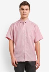 ZALORA 紅色 條紋 質感 短袖襯衫 961C5AAF5E8384GS_1