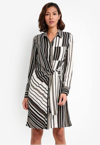River Island brown Stripe Print Tie Front Shirt Dress F2720AAF00680EGS_1