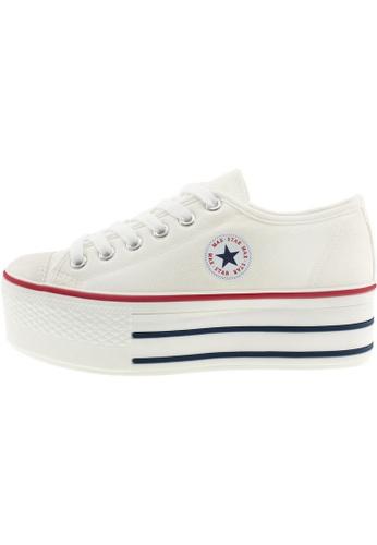 Maxstar 白色 新款韩国鞋C50-6H時尚帆布布混合女白色 US Women Size MA345SH68GULTW_1