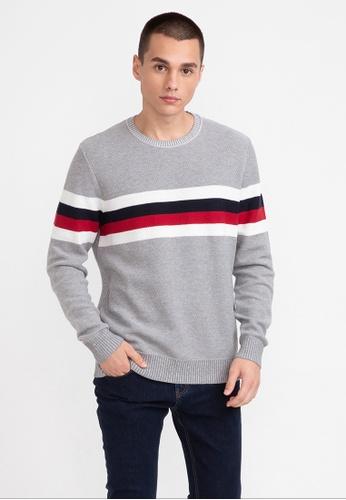 Bossini grey Striped Round Collar Sweater EBF8BAACC56044GS_1